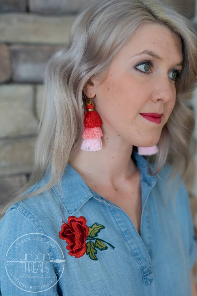 Red/Pink Tassel Earring