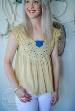 Eyelet Washed Yellow Tank