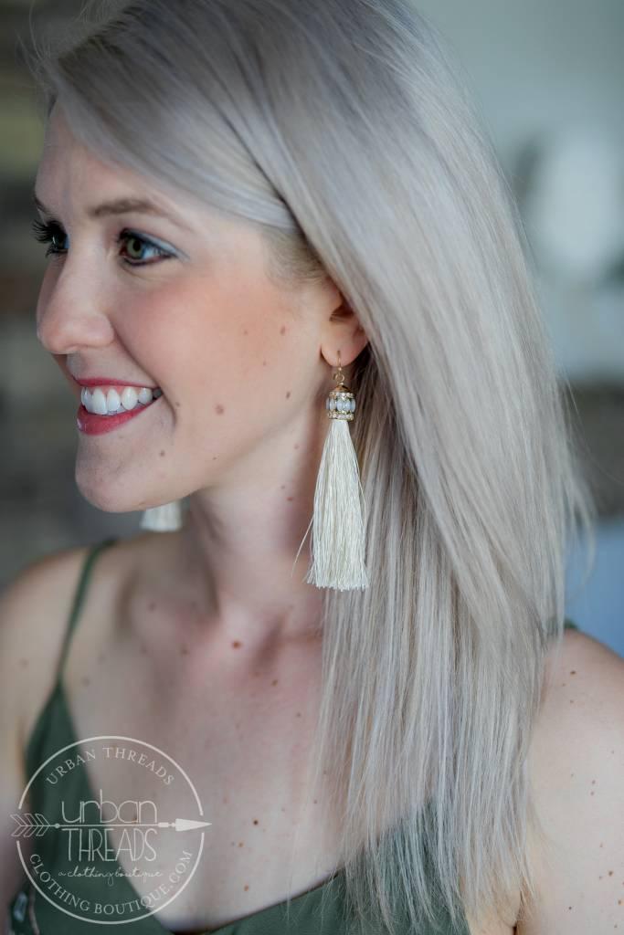 Ivory Tayla Tassel Earring