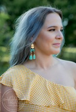 Gold/Mint Aztec Tassel Earrings