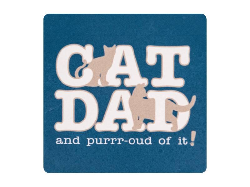 DOG SPEAK DOG SPEAK ABSORBENT STONE COASTER CAT DAD AND PURRR-OUD OF IT