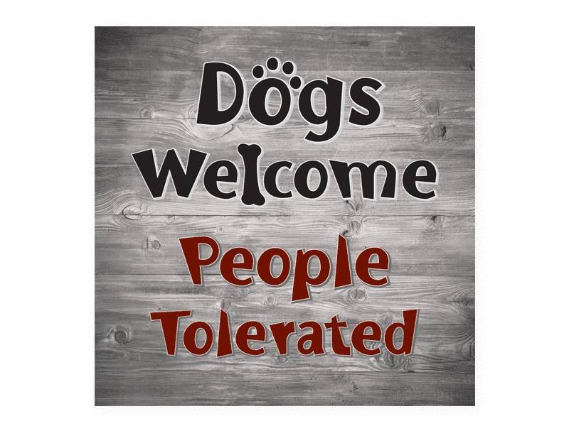 DOG SPEAK DOG SPEAK WOOD PALLET MAGNET DOGS WELCOMED PEOPLE TOLERATED