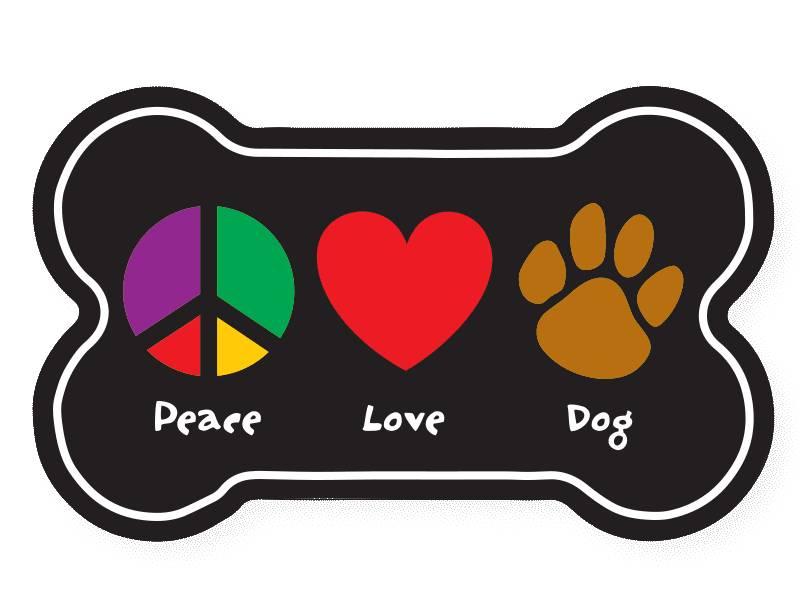 Dog Speak Dog Speak Bone Shaped Magnet Peace Love Dog