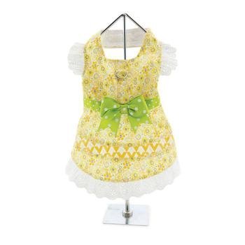 Doggie Design Doggie Design Emily Yellow Floral And Lace Dress With Matching Leash