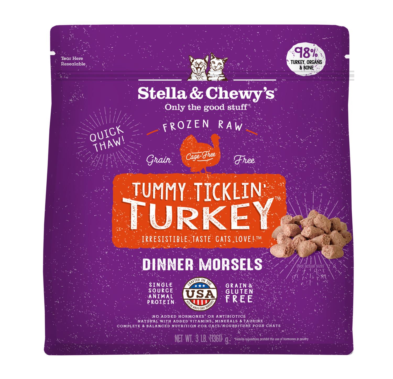 Stella & Chewys Stella & Chewys Tummy Ticklin Turkey Frozen Raw Dinner Morsels For Cats 3lb