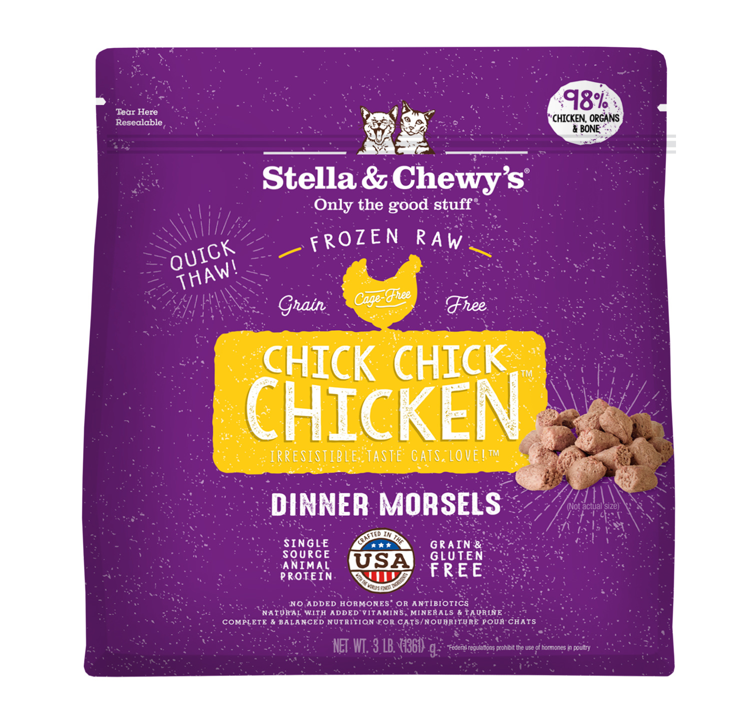 Stella & Chewys Stella & Chewys Chick Chick Chicken Frozen Raw Dinner Morsels For Cats