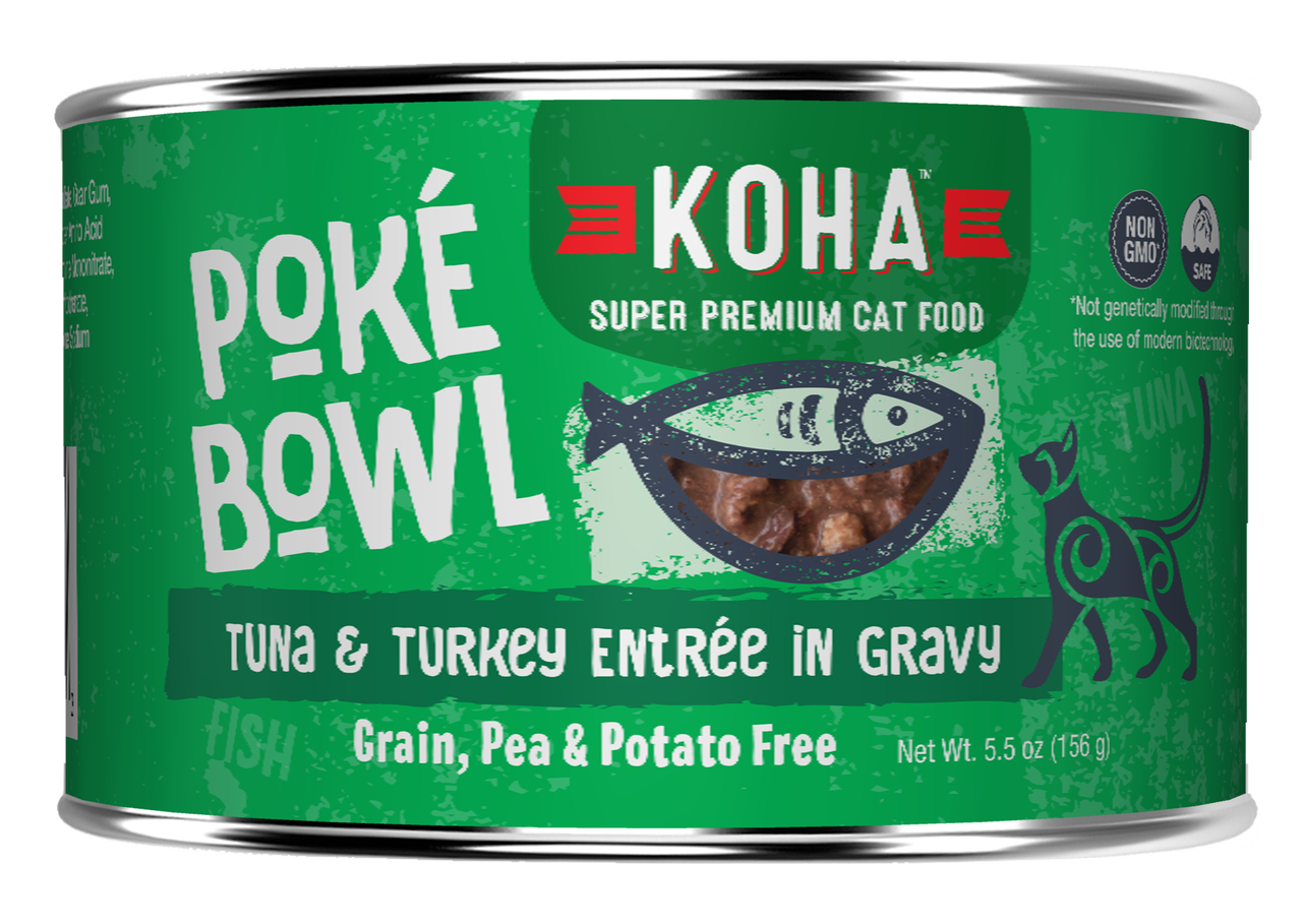 Koha Koha Poke Bowl Tuna & Turkey Entree in Gravy For Cats