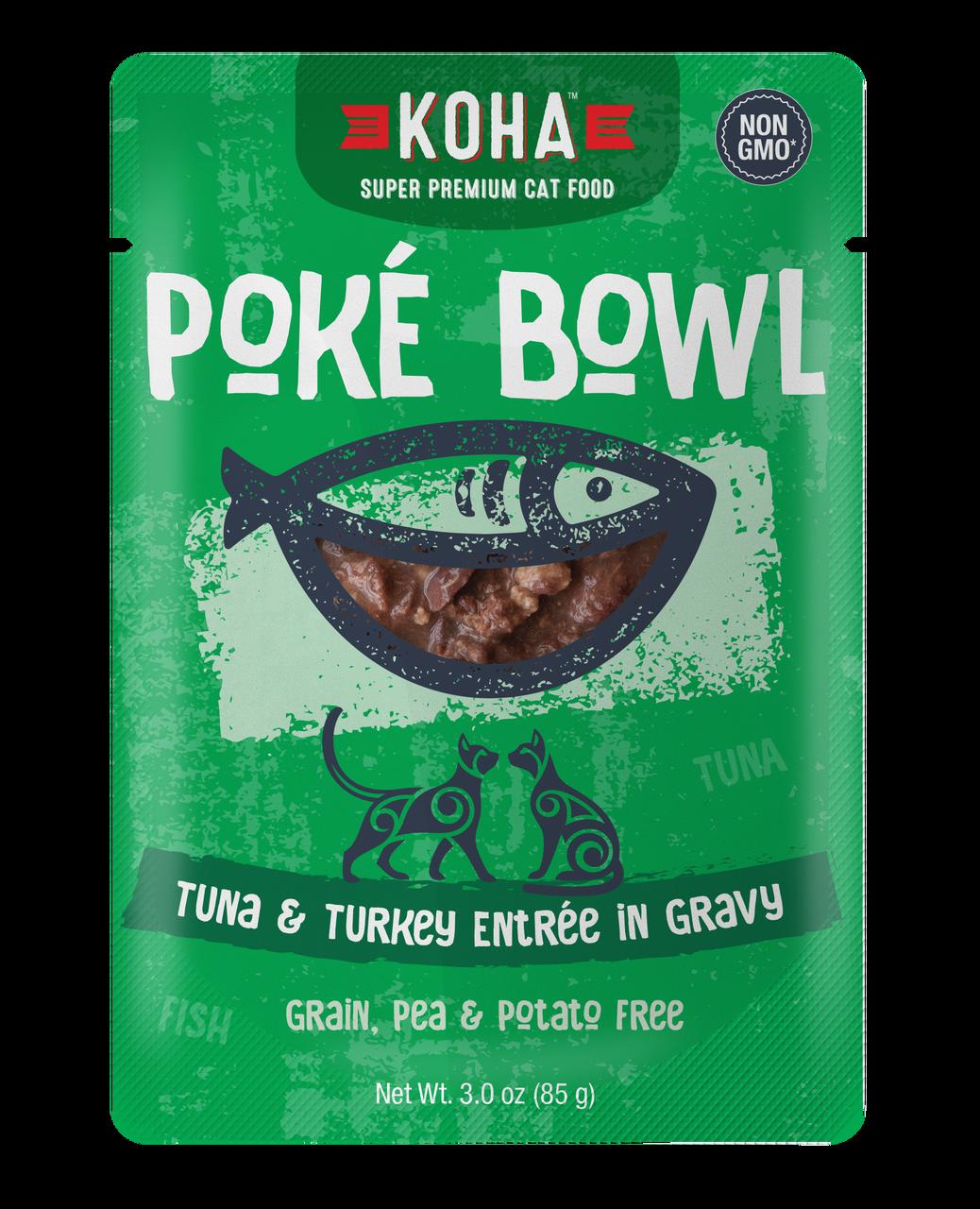 Koha Koha Poke Bowl Tuna & Turkey Entree in Gravy For Cats