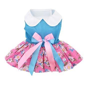 Doggie Design Doggie Design Pink and Blue Plumeria Floral Dog Dress