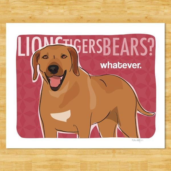 Pop Doggie Pop Doggie Lions Tigers Bears, Rhodesian Ridgeback Print