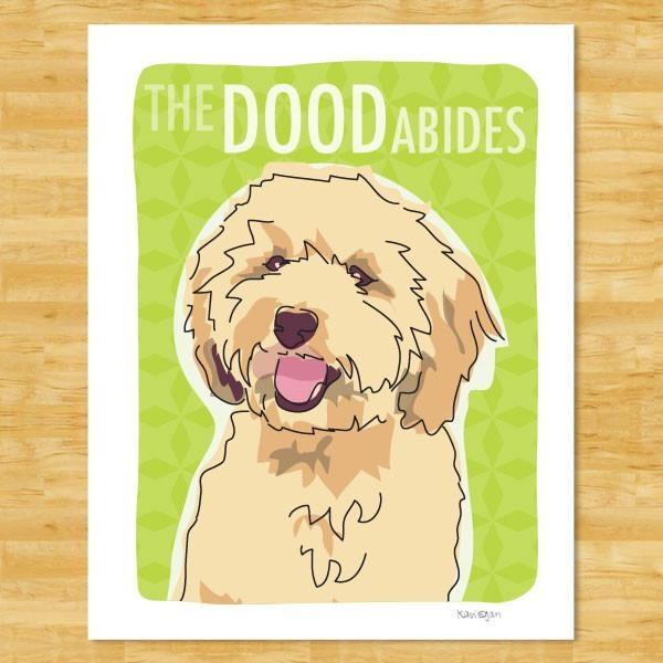 Pop Doggie Pop Doggie Cream Labradoodle, The Dood Abides Print