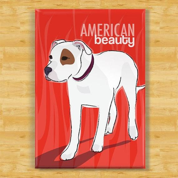 Pop Doggie Pop Doggie American Bulldog Magnet, American Beauty
