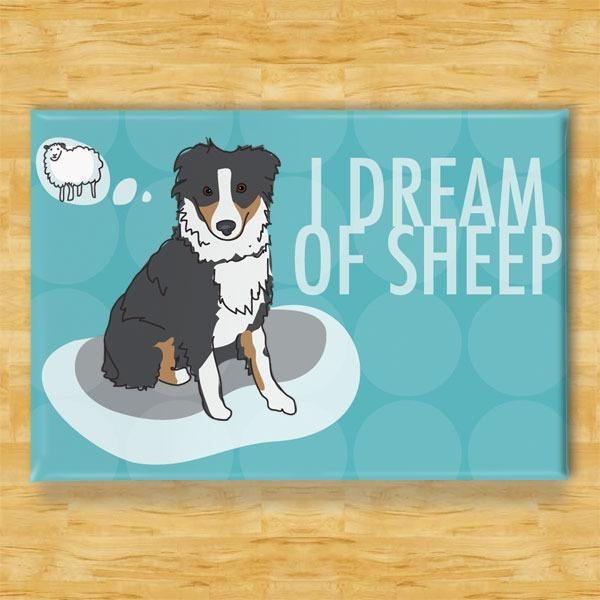 Pop Doggie Pop Doggie Black Australian Shepherd Magnet, I Dream Of Sheep