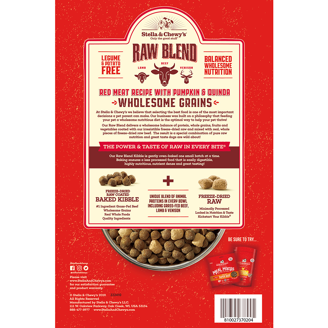 Stella & Chewys Stella & Chewys Raw Blend Baked Kibble with Wholesome Grains, Red Meat Recipe with Pumpkin & Quinoa
