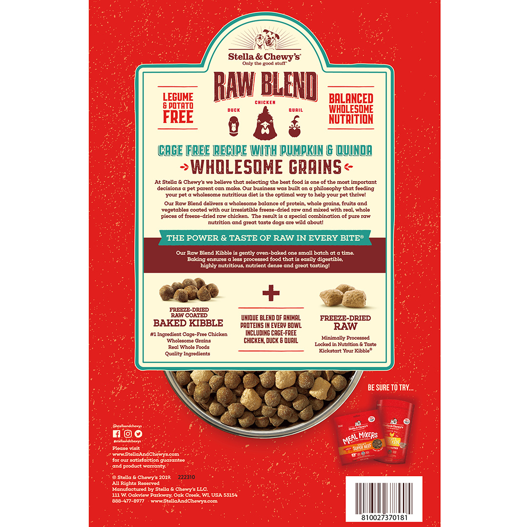 Stella & Chewys Stella & Chewys Raw Blend Baked Kibble with Wholesome Grains, Cage Free Recipe with Pumpkin & Quinoa