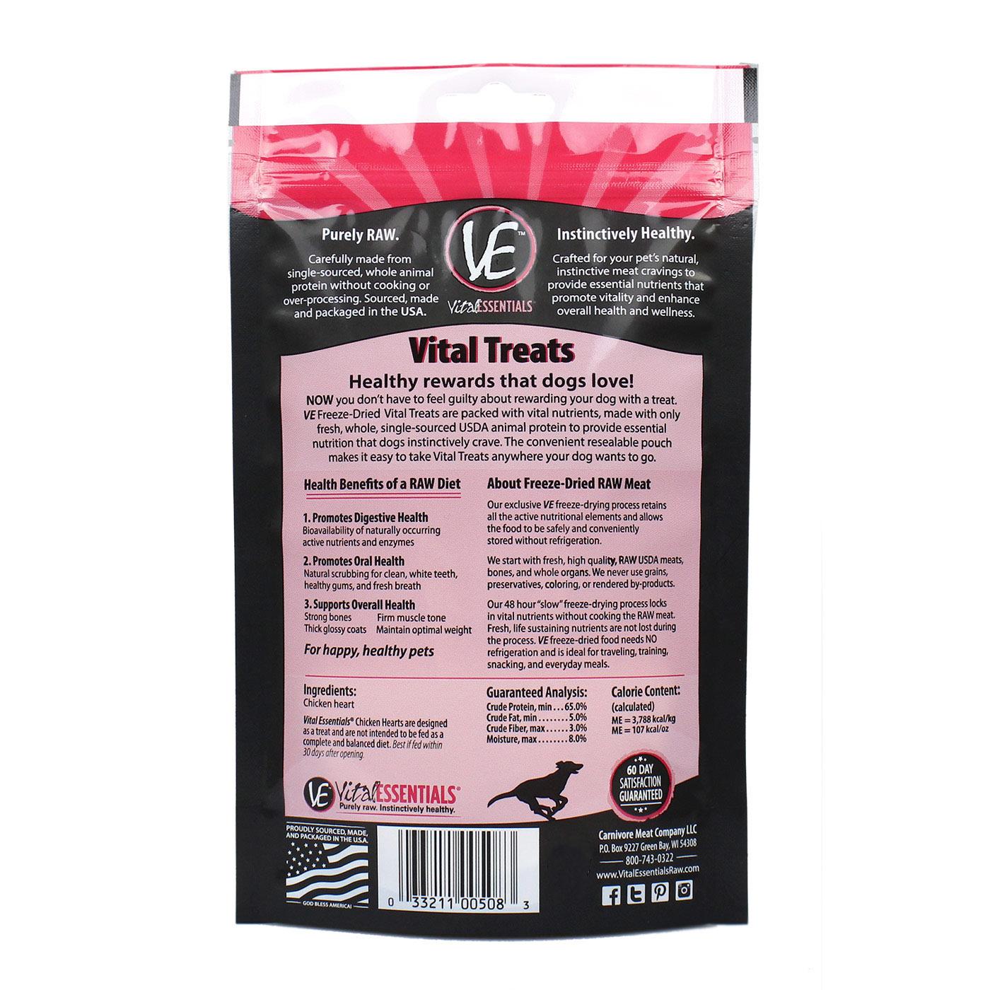 Vital Essentials Vital Essentials Chicken Hearts Freeze Dried 1.9oz
