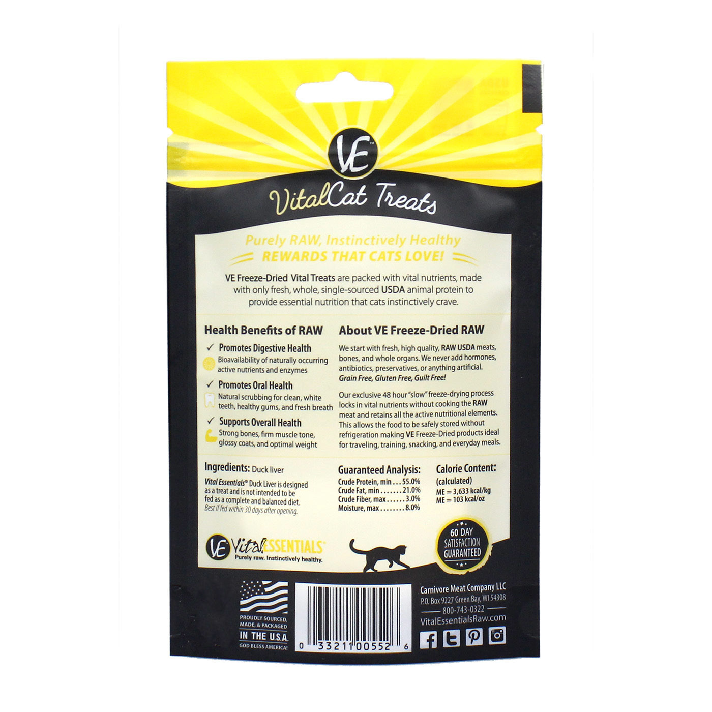 Vital Essentials Vital Essentials Freeze Dried Duck Liver For Cats .9oz