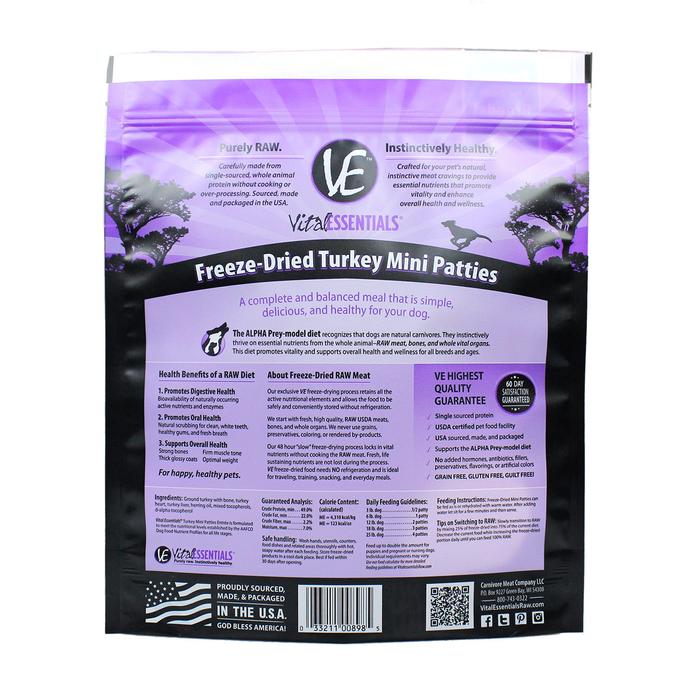 Vital Essentials Vital Essentials Turkey Mini Patties Freeze Dried 1lb