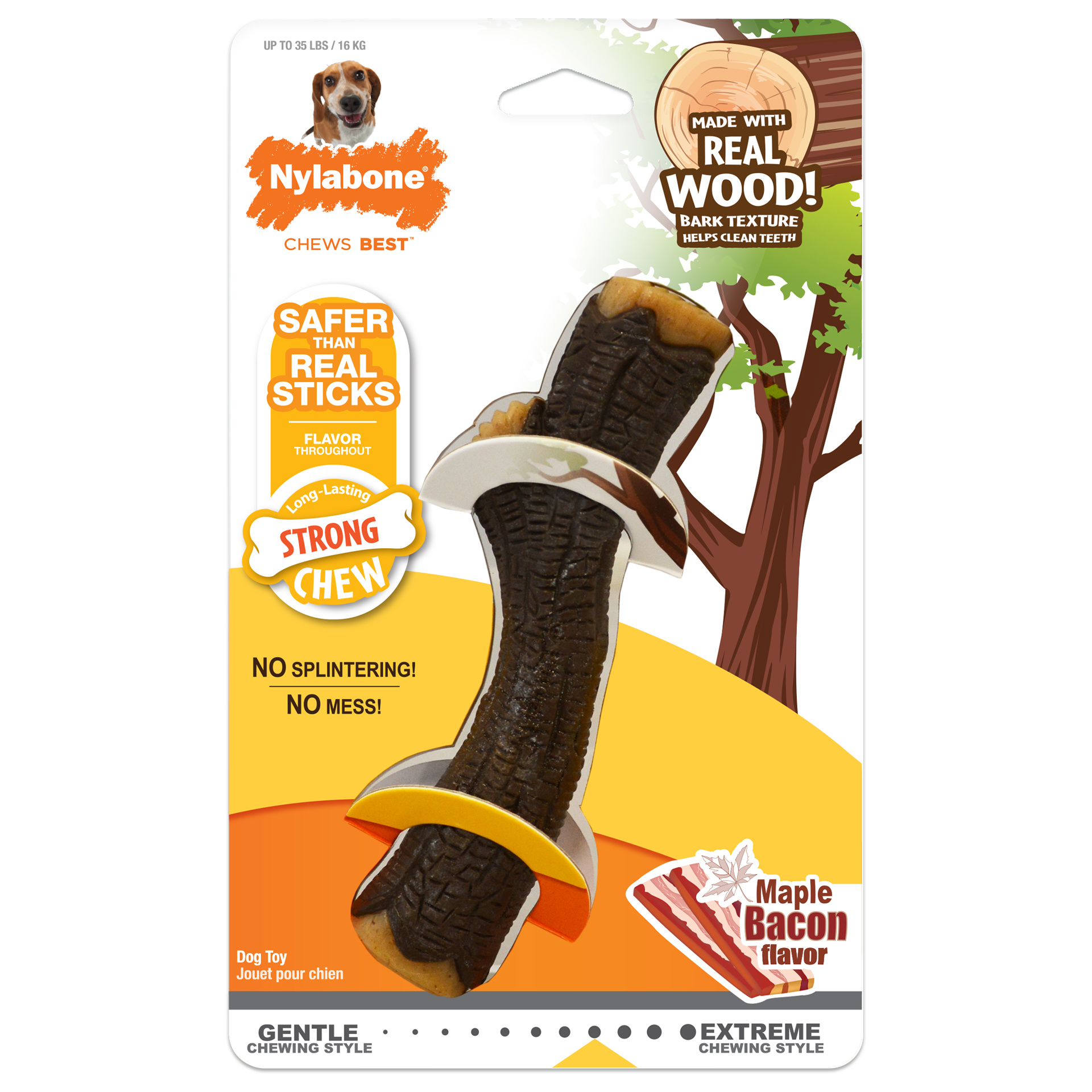 Nylabone Nylabone Real Wood Stick Strong Chew Maple Bacon Wolf