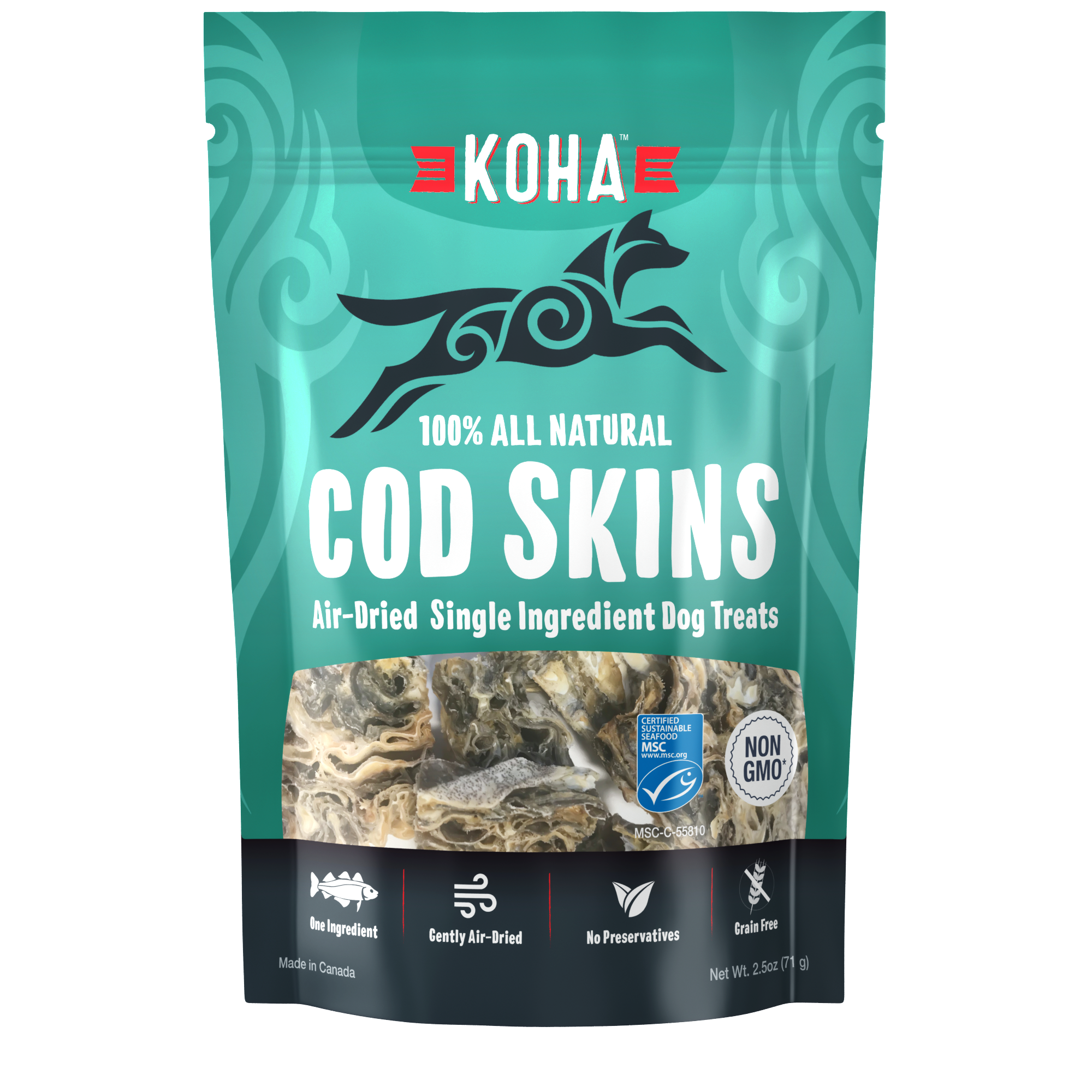 Koha Koha Air Dried Single Ingredient Cod Skins 2.5oz