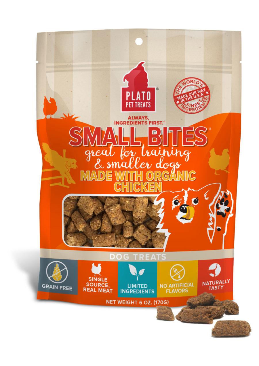 Plato Pet Treats Plato Small Bites Grain Free Organic Chicken Recipe
