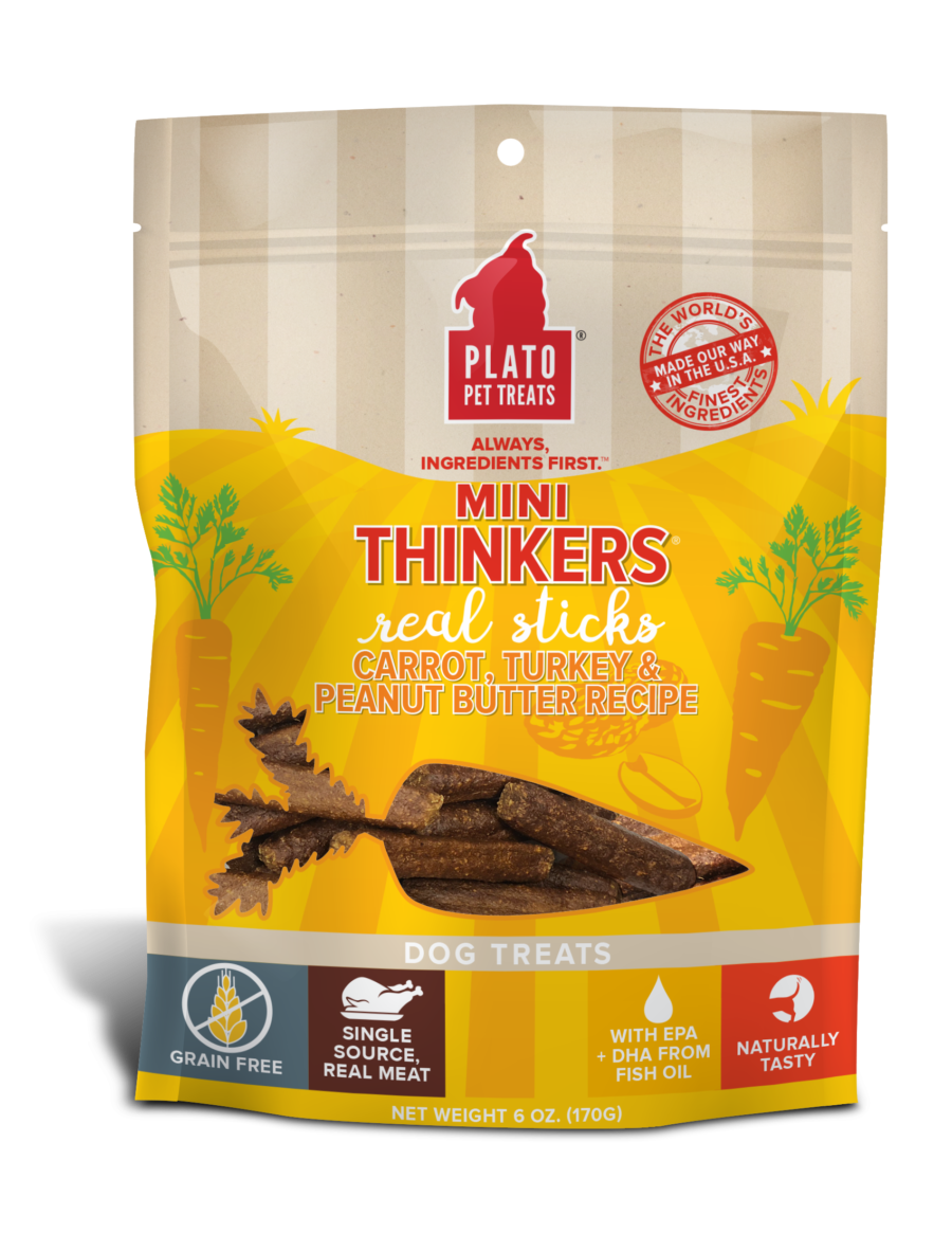 Plato Pet Treats Plato Mini Thinkers Grain Free Carrot, Turkey & Peanut Butter