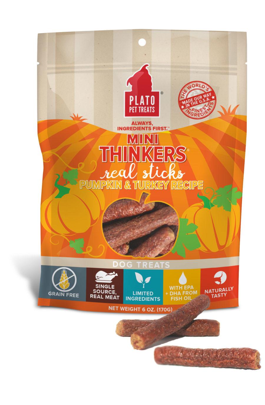 Plato Pet Treats Plato Mini Thinkers Grain Free Pumpkin & Turkey