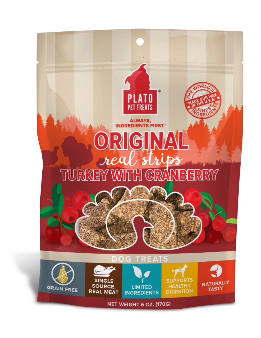 Plato Pet Treats Plato Original Real Strips Grain Free Turkey With Cranberry