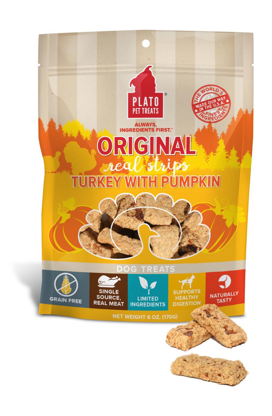 Plato Pet Treats Plato Original Real Strips Grain Free Turkey With Pumpkin