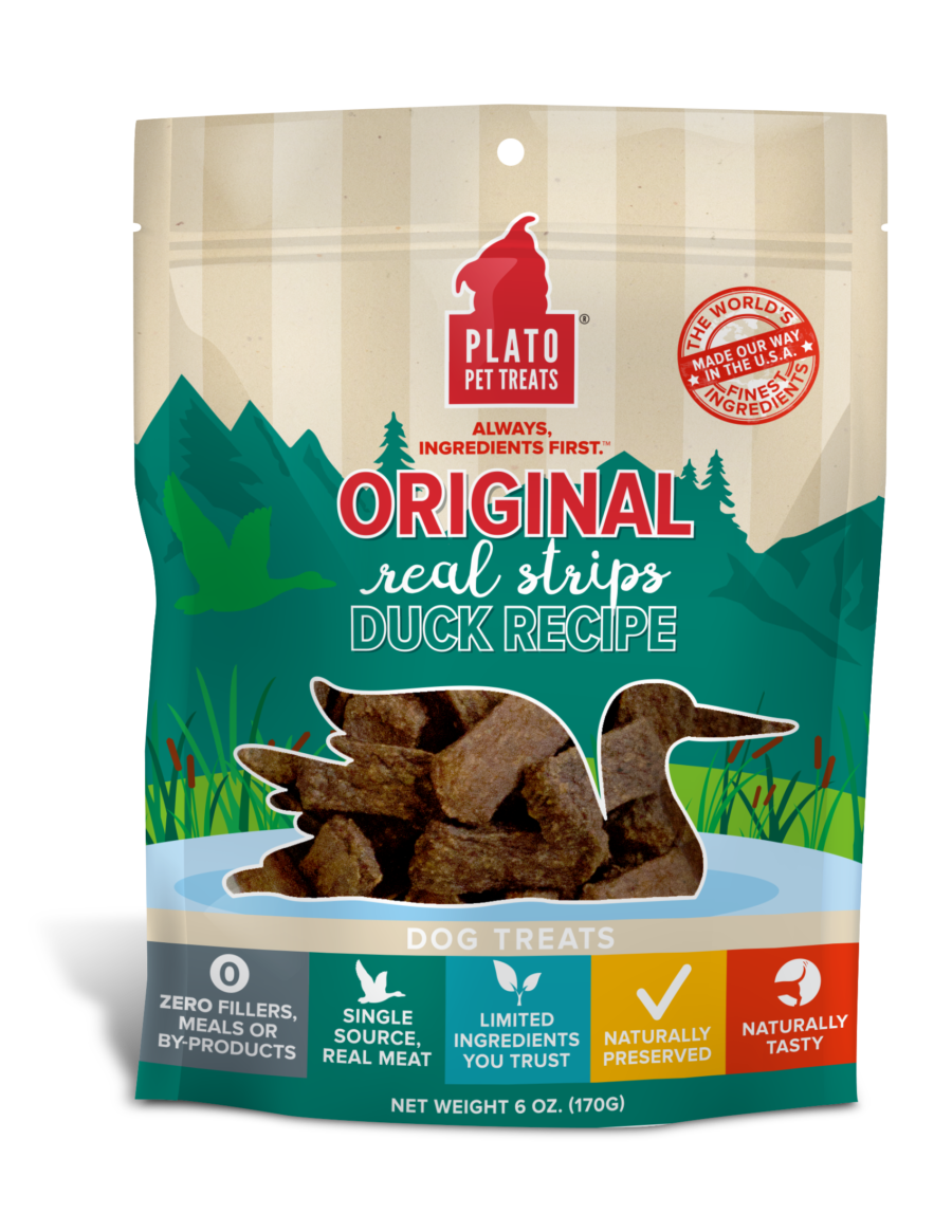 Plato Pet Treats Plato Original Real Strips Duck Recipe