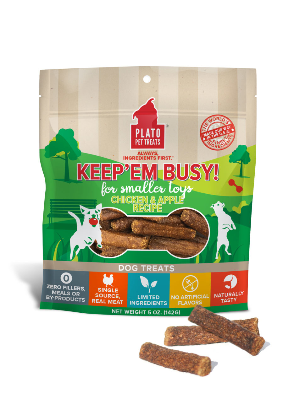 Plato Pet Treats Plato Keep'Em Busy Chicken & Apple for Small Toys 5oz