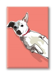 Paper Russells Jack Russel Terrier, With Belly Up Fridge Magnet