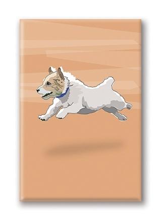 Paper Russells Jack Russel Terrier, Jumping Fridge Magnet