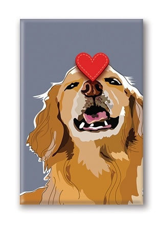 Paper Russells Golden Retriever, With Love Fridge Magnet