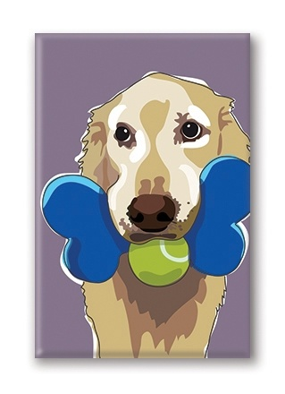 Paper Russells Golden Retriever, With Two Toys Fridge Magnet
