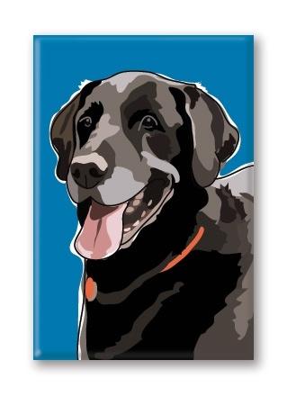 Paper Russells Labrador, Black Smiling Fridge Magnet