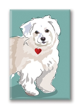 Paper Russells White Dog, With Heart Fridge Magnet