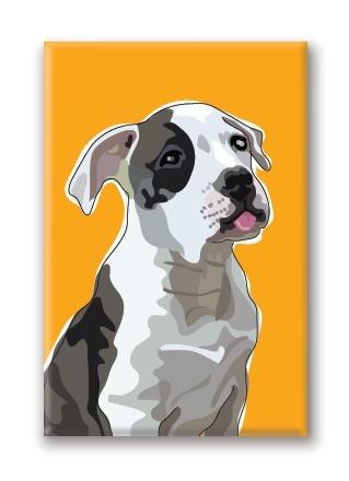 Paper Russells American Bulldog, Fridge Magnet