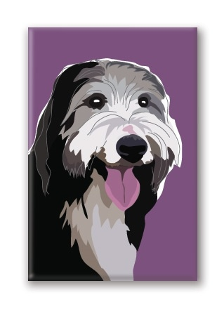 Paper Russells Bearded Collie, Fridge Magnet