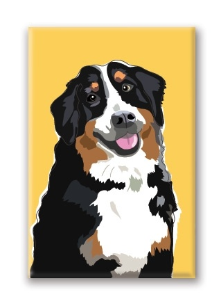 Paper Russells Bernese Mountain Dog, Smiling Fridge Magnet