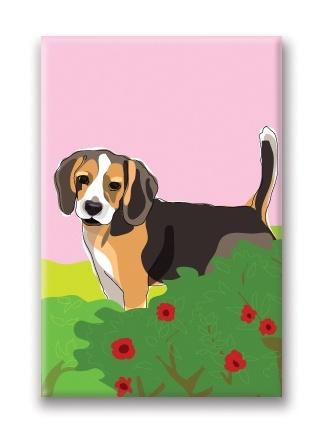 Paper Russells Beagle, Flowers Fridge Magnet