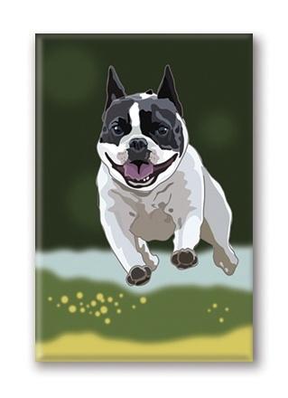 Paper Russells Boston Terrier, Jumping Fridge Magnet