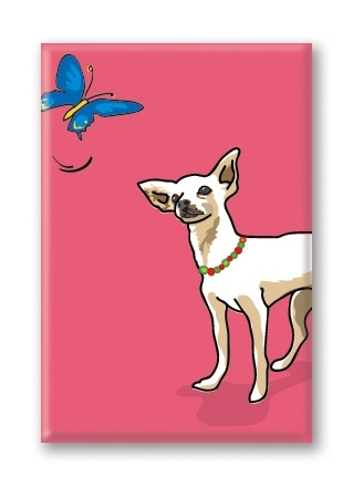 Paper Russells Chihuahua, With Butterfly Fridge Magnet