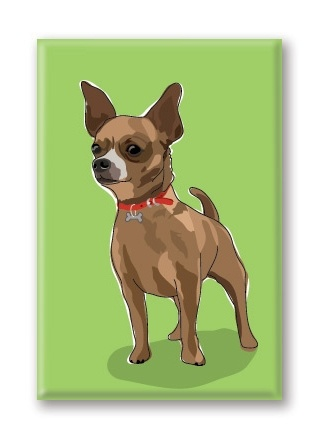 Paper Russells Chihuahua, Brown Fridge Magnet