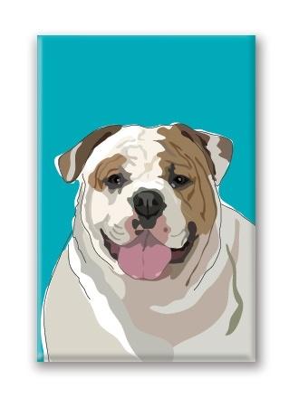 Paper Russells English Bulldog, Fridge Magnet