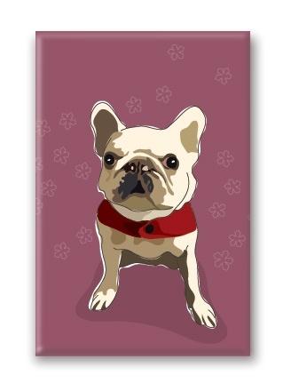Paper Russells French Bulldog, White Fridge Magnet