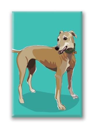 Paper Russells Greyhound, Tan Fridge Magnet