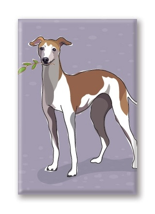 Paper Russells Italian Greyhound, Fridge Magnet