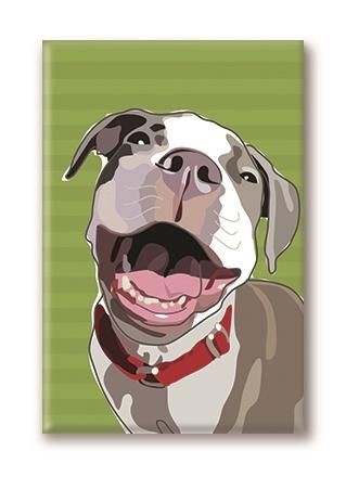 Paper Russells Pitbull, Laughing Fridge Magnet