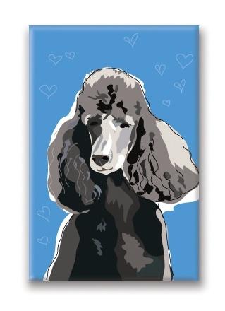 Paper Russells Poodle, Black Fridge Magnet